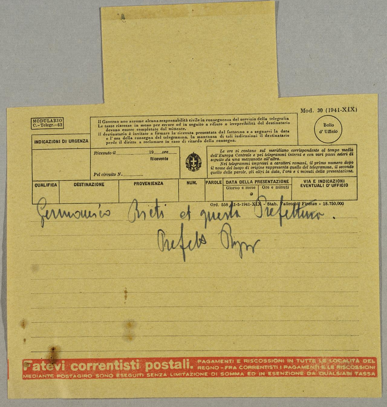 Telegramma Storie E Microstorie Bassa Sabina 1914 1946